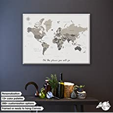 Pin adventure map amazon handmade canvas pin board map of the world dd your own quote large world travel gumiabroncs Image collections