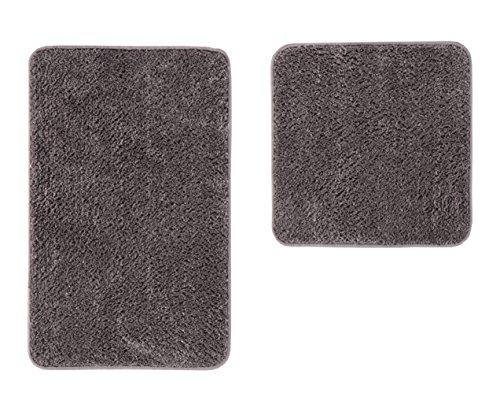 andiamo Microfaser Badematte-Badteppich-Verschiedene Farben und Größen-Oeko-Tex 100-Badvorleger-2er Set, Polyester, Grau, 50x80 cm + 50x50 cm