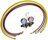 Yellow Jacket 49987 Titan 4-Valve Test and Charging Manifold degrees F, psi Scale, R-22/134A/404A Refrigerant, Red/Blue Gauges by Yellow Jacket