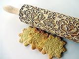 Nudelholz DAMASK für hausgemachtes Gebäck. Teigrolle mit Oriental Blume