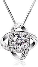 B.Catcher Collar de plata de ley con diamante para mujer,Con una caja(48cm de longitud)