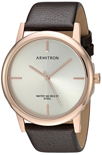 armitron-mens-20-5140svrgbn-rose-gold-tone-and-brown-leather-strap-watch