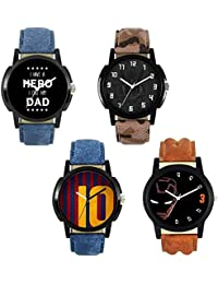 Xforia Boys Watch Blue, Brown & Aemy Leather Party Wear Analog Watches For Men Pack Of 4