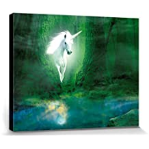 Unicornios - Unicornio En Bosque Mágico Verde Cuadro, Lienzo Montado Sobre Bastidor (50 x 40cm)