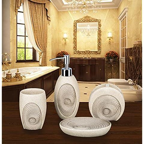 siloko contemporáneo Swirl resina 4pcs accesorios de baño Set Regalo de baño plato de jabón, dispensador de loción, vaso para cepillos de dientes y