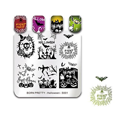 BORN PRETTY Nail Art Stempel Vorlagen Halloween Stempelbild Quadrat Stempel Platte Schädel Spinne Geist S001