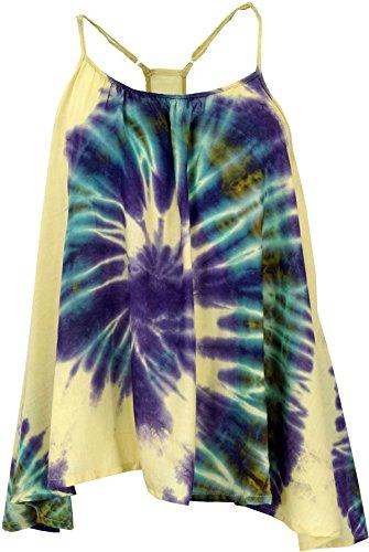 Guru-Shop Batik Top, Trägertop, Sommertop, Strandtop, Hippie Top, Damen, Naturweiß, Viskose, Size:40, Tops, T-Shirts, Shirts Alternative Bekleidung (Top Shirt Hippie)