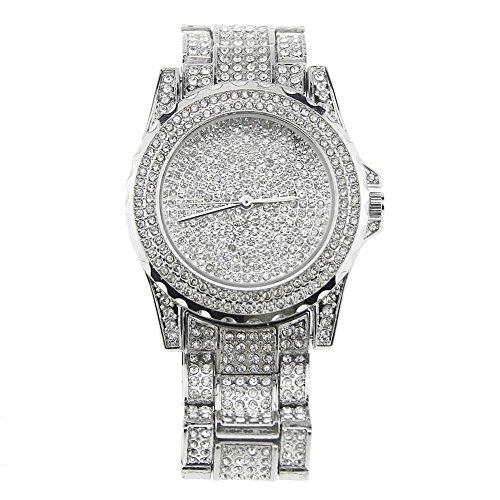 Dxlta Frauen Damen Strass Armbanduhren mit Stahlarmband Zifferblatt Uhr Elektronische Bewegung Casual Quarzuhr Rosegold/Gold/Silber -