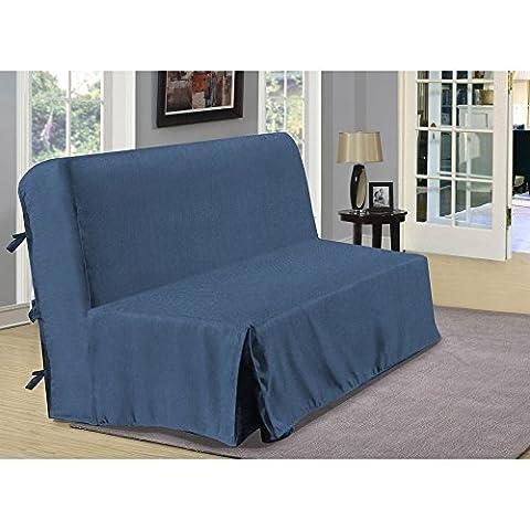 Housse de BZ aspect lin - bleu - Dimensions : 140x190