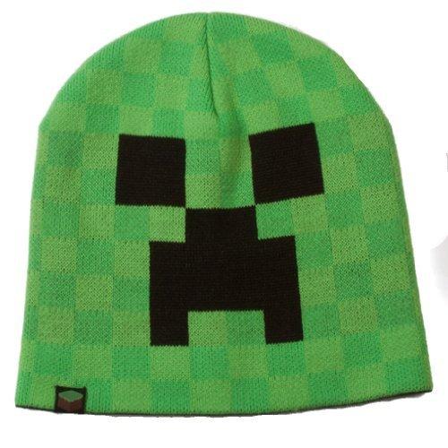 Knallgrün Minecraft Creeper Beanie Mütze hochwertig Farbklecks für jede Jahreszeit doppellagig warm - (Minecraft Beanie Mütze)