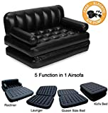 PERFECT SHOPO 5 IN 1 DOUBLE BLACK INFLATABLE AIR SOFA CHAIR COUCH LOUNGER