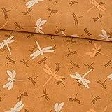 Stoffe Werning Dekostoff Libellen beige braun - Preis Gilt