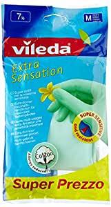 Vileda Extra Sensation Guanti Extra Sensibili e Felpati All'Interno in Cotone, Taglia Media
