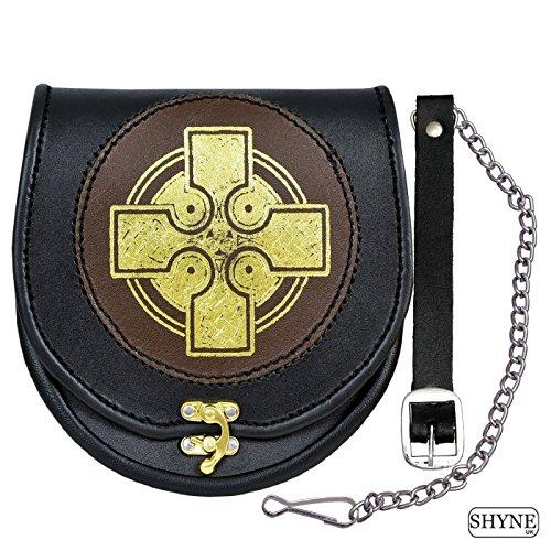 Preisvergleich Produktbild Sporran Gold Kreuz Leder Schwarz/Braun, Sporran für Kilt-Gürtel mit Kette