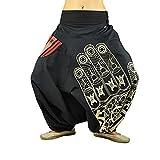 virblatt Haremshose für Frauen und Männer mit hochwertigem Druck Einheitsgröße S-L Aladinhosen und GOA Hose in alternative Kleidung Entspannt bl