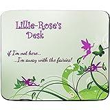 Lillie Bettwäsche Rose'- Away-Schreibtisch mit Feen-Motiv, personalisierbar, Name und-Mauspad Premium (5 mm Dicke)