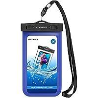 MoKo Wasserdichte Hülle IPX8 Tasche Schutzhülle mit Schwimmend für iPhone X iPhone 8 7 6 6S 5SE 7 Plus, Huawei P10 Plus Samsung Galaxy S9 S7 Edge J5 A5, bis zu 5.7 Zoll Smartphone, Blau