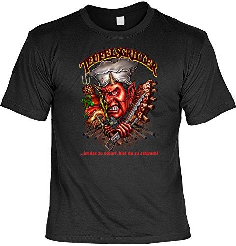 Griller T-Shirt Teufelsgriller Grill BBQ Shirt geil bedruckt Geschenk Set mit Mini Flaschenshirt Schwarz