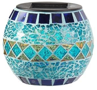 ranex photophore solaire mosa que de verre bleu turquoise luminaires et. Black Bedroom Furniture Sets. Home Design Ideas