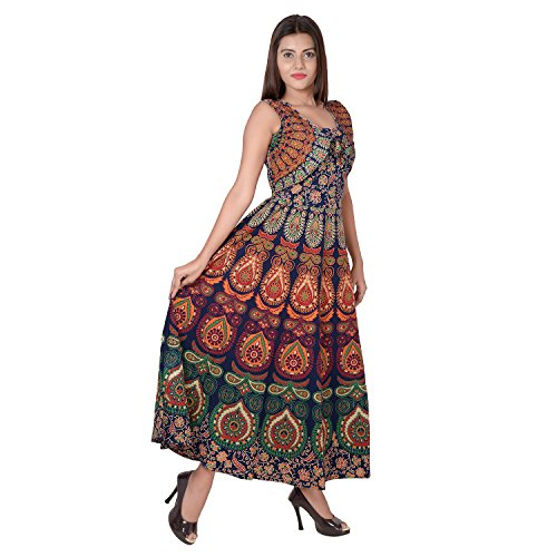 Jaipuri Fashionista Women's Cotton Dress (46-Jfjd-Mr-Blo_Blue_Free Size)