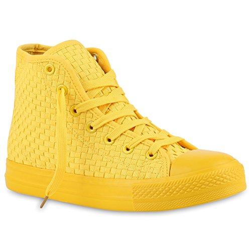 Damen High Top Sneakers Stoffschuhe Sportschuhe Casual Style Gelb