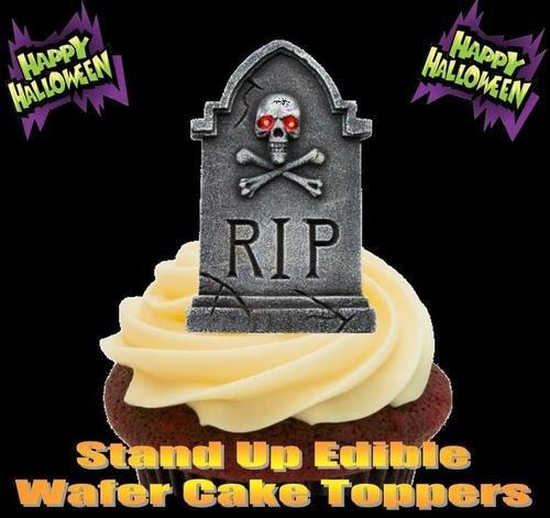 HALLOWEEN RIP GRABSTEIN MIT EINEM TOTENSCHÄDEL - 12 essbare hochwertige stehende Waffeln Kuchen Toppers - HALLOWEEN RIP GRAVESTONE SKULL