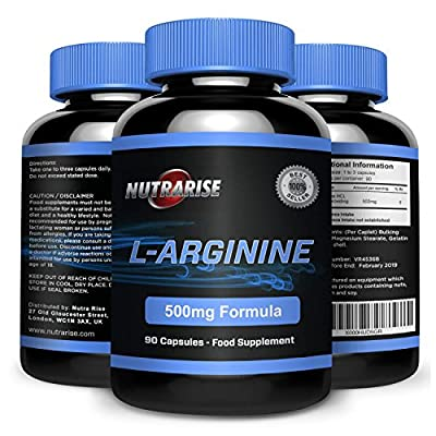L-Arginine, The Essential Amino Acid that Increases Muscle Growth and Strength, Arginine Promotes Nitric Oxide Levels & Protein Synthesis, Made in the UK, 500mg - 90 Capsules from Nutra Rise