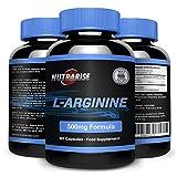 L-Arginine, Calidad Premium aminoácido que aumenta el nivel de óxido nítrico NO2, apoya la salud cardiovascular y ayuda en la construcción de músculo, la reparación y el crecimiento, UK, 500mg, 90 cápsulas