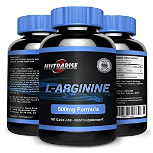 51g6c%2BjFomL. SS300  - L-Arginine, The Essential Amino Acid That Increases Muscle Growth and Strength, Arginine Promotes Nitric Oxide Levels & Protein Synthesis, Made in The UK, 500mg - 90 Capsules