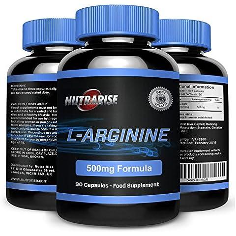 L-Arginine, Calidad Premium aminoácido que aumenta el nivel de óxido nítrico NO2, apoya la salud cardiovascular y ayuda en la construcción de músculo, la reparación y el crecimiento, UK, 500mg, 90