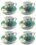 12tlg. Set Espressotassen Porzellan grün/blau Accessorize Home