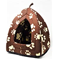 Purrfect Pet TM - Cama de forro polar para mascota, gato, perro, cachorro, conejo, color marrón con estampado de huellas de color crema