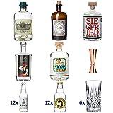 Ultimatives Gin Tasting Set | Komplett mit Six Ravens/Monkey 47 / Siegfried/Iris / Lucky HANS Gin | 24x Tonic Wasser | 6x Gläsern | 1x Bar Jigger