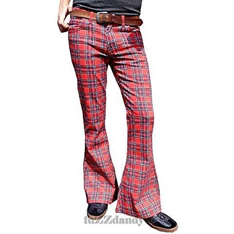 Uomo Fondo Campana A Zampa Tartan Rosso Glam Rock Pantaloni Retro
