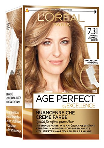 L\'Oréal Paris Excellence Age Perfect Coloration, 7.31 dunkles caramelblond, 3er Pack (3 x 1 Stück)