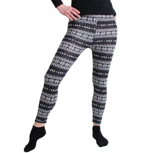 BRUBAKER New York warme Leggings Norweger Style Gr. S M L (Einheitsgröße) Schwarz Weiß mit Eisblumen