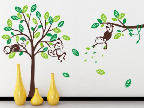 Large Monkey tree Baby Nursery Wall Sticker Naughty Monkeys Boys bedroom wall art Decal Children playroom home wall art -120cmH x 185cmW