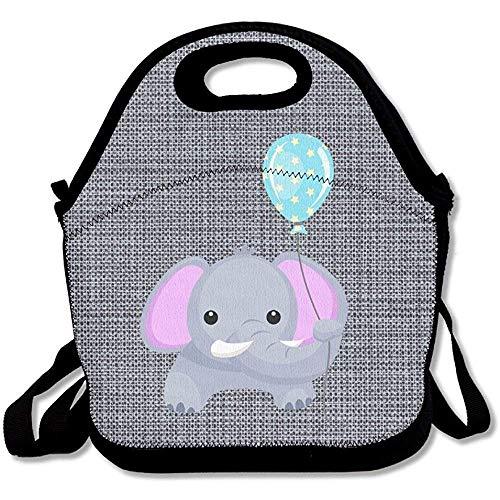 Elefante con globo, mochila de almuerzo grande y gruesa, de neopreno, bolsa de almuerzo aislada, bolsa térmica cálida con correa para el hombro para mujeres, adolescentes, niñas, niños y adultos