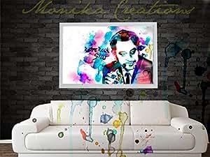 Framed (No Glass Techniques) Legend Kishore Kumar (Retro Rock Star) Water Color Digital Poster Art, Home Decor