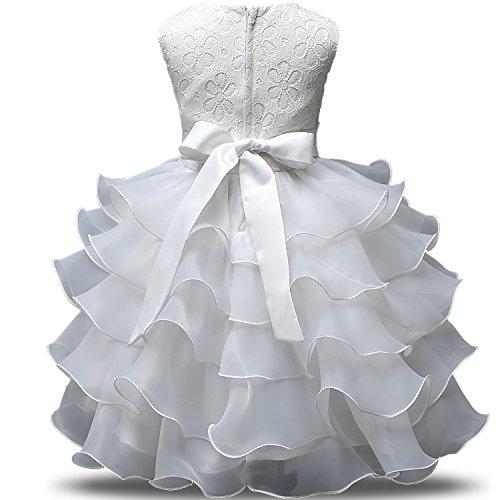 5b5f259cef47 NNJXD Vestito da Ragazza Festa in Pizzo per Bambini Abiti da Sposa  Taglia(140) 6-7 Anni Bianca