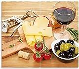 Herdabdeckplatte / Spritzschutz aus Glas, 2-teilig, 60x52cm, für Ceran- und Induktionsherde, Genuss am Abend - Rotwein, Käseplatte, Oliven und Tomaten