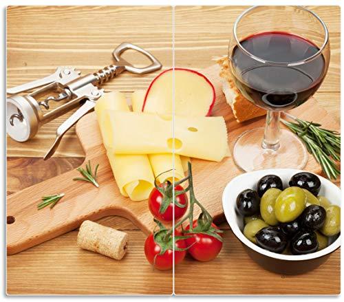 Wallario Herdabdeckplatte/Spritzschutz aus Glas, 2-teilig, 60x52cm, für Ceran- und Induktionsherde, Genuss am Abend - Rotwein, Käseplatte, Oliven und Tomaten