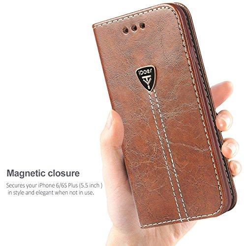 Étui Coque iPhone 6S Silicone Housse étui Portefeuille a rabat Cuir Fermeture Magnétique Protection iPhone 6 Plus Case ecriture Béquille Coque 6s Plus en ultra slim anti choc pour Apple iPhone 6 6S Pl Coffee