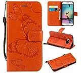 Kihying Case per Samsung Galaxy S6 Edge Cover Custodia (KT/3D Farfalla Fiore) Antiurto Caduta PU Pelle Custodia per Cellulare (Arancione)