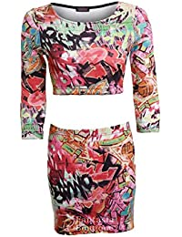 Fantasia Boutique ® Ladies Cutout 3/4 Sleeves Crazy Funky Graffiti Print Women's Skirt Dress