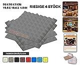 Acepunch 4 Stücke GRAU Pyramide Akustikschaumstoff Schallschutzisolierung Studio Fliesen Mit freien Klebestreifen 50 x 50 x 5 cm AP1034