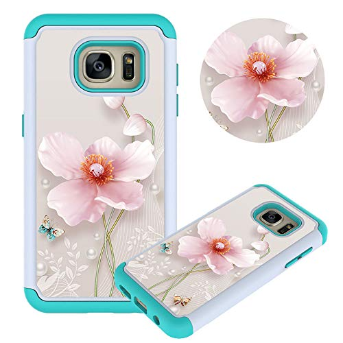 Hülle für Samsung Galaxy S7,Perle Blume Muster Weich Silikon TPU + Hart PC Hybrid Double Beidseitiger Stoßfest Handyhülle Kratzfest Rüstung Schutzhülle