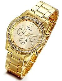 Lancardo Reloj Analógico Lujoso con Bisel de Diamantes Artificiales  Brillantes Pulsera Electrónico Comercial de Cuarzo Original 59aa14f94f15