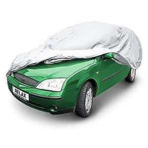 Relaxdays Housse protection intégrale voiture Combi gris Garage extérieur Bâche couverture voiture pluie neige hiver poussière garage, gris