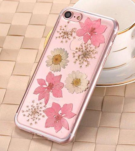 iPhone 8 Klar Handycover, Aeeque iPhone 8 (4.7) Handgefertigt Echt Blume Schutzhülle, 3D Handmade Elegant Mädchen Blumen-Serie Design Klar Durchsichtig Flexibel Silikon Zurück Bumper Case Cover für iP Blumen #17